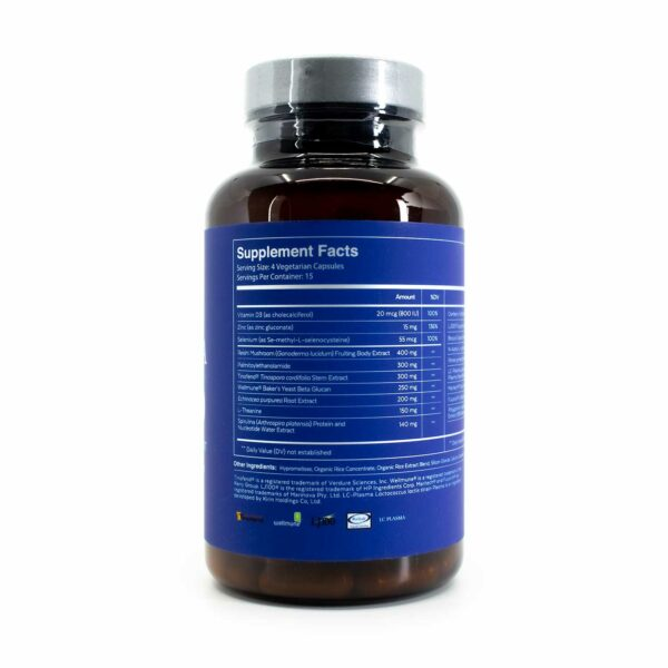 A bottle of Qualia Immune 75 showing supplement facts