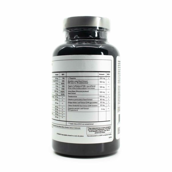 A bottle of Qualia Mind Essentials 75 showing supplement facts
