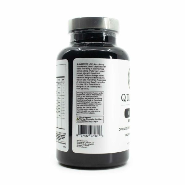 A bottle of Qualia Mind Essentials 75 showing suggested usage