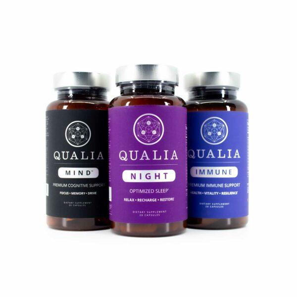 A 1-week bottle of Qualia Mind, Qualia Night, and Qualia Immune