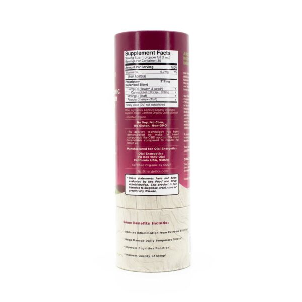 One bottle of Full Spectrum Hemp Elixir from Ojai Energetics showing the Supplement Facts