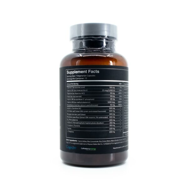 Qualia Mind bottle with 105 capsules showing the supplement facts